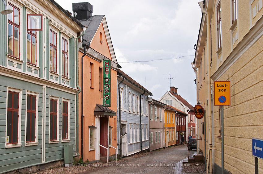 A street scene from the old town where there are many unique old wooden houses. Eksjo town. Smaland region. Sweden, Europe.