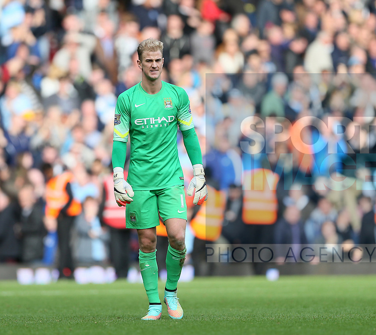 Manchester City's Joe Hart looks on dejected at the final whistle<br /> <br /> Barclays Premier League - West Ham United vs Manchester City - Upton Park - England - 25th October 2014 - Picture David Klein/Sportimage