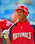 6 March 2009: Washington Nationals' center fielder Justin Maxwell prepares to take batting practice prior to a Spring Training game against the Baltimore Orioles at Fort Lauderdale Stadium in Fort Lauderdale, Florida. The Orioles defeated the Nationals 6-2 in the pre-season Grapefruit League matchup. Mandatory Photo Credit: Ed Wolfstein Photo