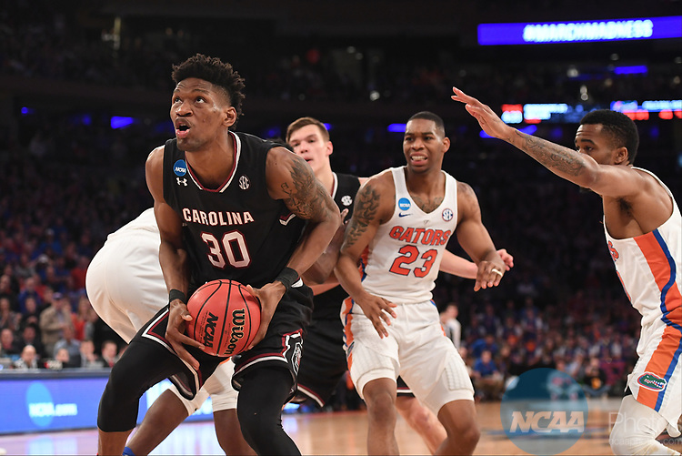 NEW YORK, NY - MARCH 26: Chris Silva #30 of the South Carolina Gamecocks during a game against the Florida Gators during the 2017 NCAA Men's Basketball Tournament held at Madison Square Garden on March 26, 2017 in New York City. (Photo by Justin Tafoya/NCAA Photos via Getty Images)
