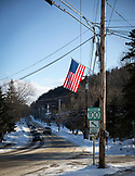 VERMONT, Stowe, Leaving town of Stowe on Route 100 North