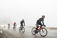 Picture by Alex Broadway/SWpix.com - 10/03/2018 - Cycling - 2018 Paris Nice - Stage Seven - Nice to Valdeblore La Colmiane - The breakaway rides through heavy fog during the stage.<br /> <br /> NOTE : FOR EDITORIAL USE ONLY. THIS IS A COPYRIGHT PICTURE OF ASO. A MANDATORY CREDIT IS REQUIRED WHEN USED WITH NO EXCEPTIONS to ASO/Alex Broadway MANDATORY CREDIT/BYLINE : ALEX BROADWAY/ASO