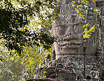 Face In The Forest 02 - Angkor Thom East Gate, north face of tower, Cambodia