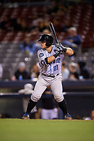 Hudson Valley Renegades catcher Erik Ostberg (21) at bat during a game against the Connecticut Tigers on August 20, 2018 at Dodd Stadium in Norwich, Connecticut.  Hudson Valley defeated Connecticut 3-1.  (Mike Janes/Four Seam Images)