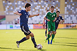 Tomiyasu Takehiro of Japan (L) in action during the AFC Asian Cup UAE 2019 Group F match between Japan (JPN) and Turkmenistan (TKM) at Al Nahyan Stadium on 09 January 2019 in Abu Dhabi, United Arab Emirates. Photo by Marcio Rodrigo Machado / Power Sport Images