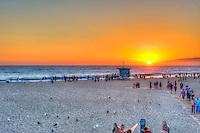 Santa Monica CA Beach, Pier Sunset, Beach, Activities, People