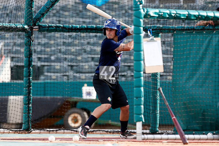 18 September 2012: France Maxime Lefevre is seen during the batting practice during Team France practice, at the 2012 World Baseball Classic Qualifier round, in Jupiter, Florida, USA.