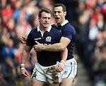 Stuart Hogg of Scotland (l) celebrates scoring the first try with Tim Visser of Scotland - RBS 6Nations 2015 - Scotland  vs Wales - BT Murrayfield Stadium - Edinburgh - Scotland - 15th February 2015 - Picture Simon Bellis/Sportimage