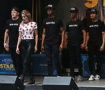 Taylor Louderman and 'Mean Girls' cast performing at the United Airlines Presents: #StarsInTheAlley Produced By The Broadway League on June 1, 2018 in New York City.