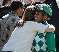 Victor Espinoza and Carla Gaines with John Scott (#6) winner of the Harry F. Brubaker Stakes at Del Mar Race Course in Del Mar, California on September 1, 2012.