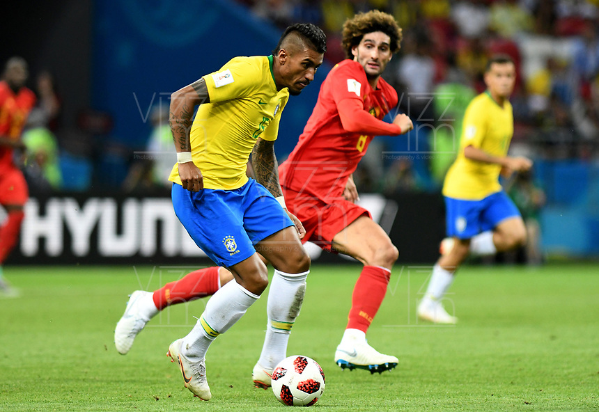 KAZAN - RUSIA, 06-07-2018: PAULINHO jugador de Brasil en acción durante partido de cuartos de final entre Brasil y Bélgica por la Copa Mundial de la FIFA Rusia 2018 jugado en el estadio Kazan Arena en Kazán, Rusia. / PAULINHO player of Brazil in action during the match between Brazil and Belgium of quarter final for the FIFA World Cup Russia 2018 played at Kazan Arena stadium in Kazan, Russia. Photo: VizzorImage / Julian Medina / Cont