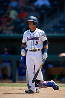 Jacksonville Jumbo Shrimp Bryson Brigman (6) at bat during a Southern League game against the Tennessee Smokies on April 29, 2019 at Baseball Grounds of Jacksonville in Jacksonville, Florida.  Tennessee defeated Jacksonville 4-1.  (Mike Janes/Four Seam Images)