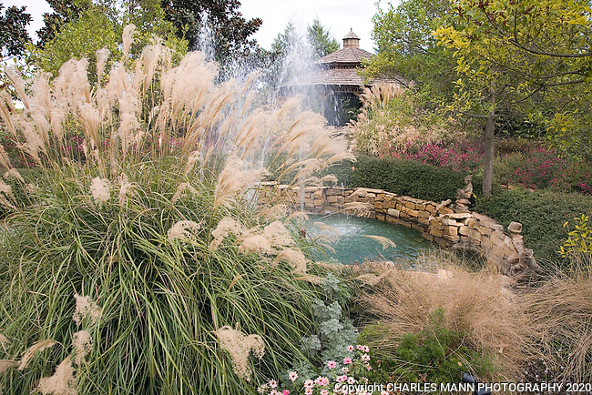 A jetting fountain surrounded by fall blooming Maiden Grass or Miscanthus, compliments a rock lined pool and a gazebo in the Douglas Chandor Garden in Weatherford, Texas