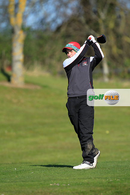 Jessica Hall  (ENG) on the 1st tee during Round 3 of the Irish Girl's Open Stroke Play Championship at Roganstown Golf &amp; Country Club on Sunday 17th April 2016.<br /> Picture:  Thos Caffrey / www.golffile.ie
