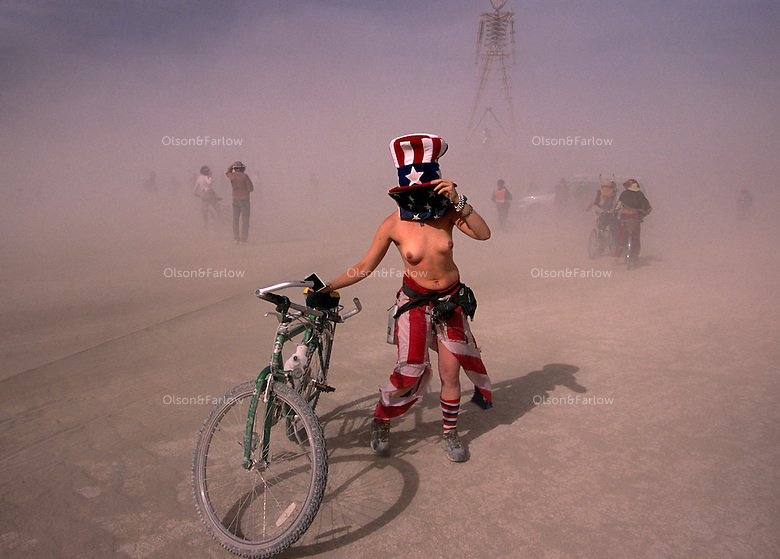 A semi-nude Uncle Sam confronts a duststorm at the annual Burning Man Festival held at Black Rock Desert in northwestern Nevada's Conservation area. For the week of Burning Man, it becomes one of Nevada's largest cities, attracting as many as 26,000 revelers who come to make art in the desert.