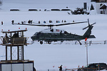 World Economic Forum - WEF - Davos 2018. The &quot;Marine One&quot; helicopter carrying US President Donald J. Trump leaves Davos in Davos on January 26, 2018; <br /> <br /> Pictured: