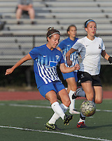 Peabody, Massachusetts - June 22, 2016:  In a Women's Premier Soccer League (WPSL) match, Boston Aztec (white) vs Boston Breakers Reserves (blue), at Bishop Fenwick High School.