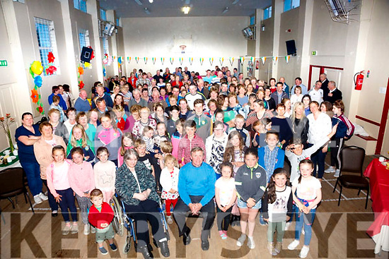 A wonderful turn out for Fr David Gunn seated front centre at his going away party in Portmagee Community Centre on Monday evening.