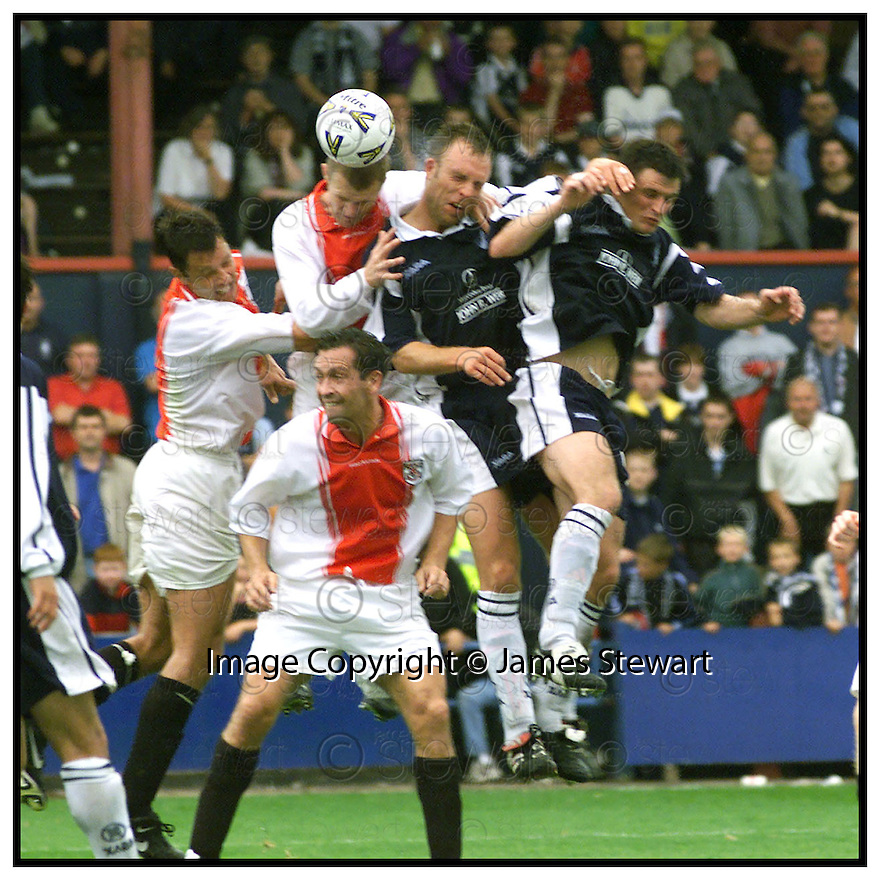 4th September 99                     Copyright Pic : James Stewart .Ref : 990332                          .File Name : stewart07-falkirk v clydebank                       .DAVID MOSS BEATS JOE MCLAUGHLIN AND NEIL OLIVER TO THE BALL TO HEAD HOME FALKIRK'S WINNING THIRD GOAL.........Payments to :-.James Stewart Photo Agency, Stewart House, Stewart Road, Falkirk. FK2 7AS      Vat Reg No. 607 6932 25.Office : 01324 630007        Mobile : 0421 416997.E-mail : JSpics@aol.com.If you require further information then contact Jim Stewart on any of the numbers above.........