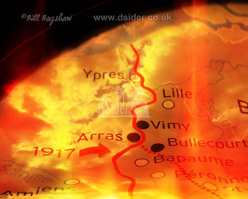 Battlefront Map of The Battle of Arras 9th April 1917. Somme Battlefront