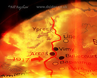 Battlefront Map of The Battle of Arras 9th April 1917. Somme Battlefront