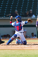 Mesa Solar Sox catcher Jhonny Pereda (6), of the Chicago Cubs organization, throws back to the pitcher during an Arizona Fall League game against the Salt River Rafters at Sloan Park on October 30, 2018 in Mesa, Arizona. Salt River defeated Mesa 14-4 . (Zachary Lucy/Four Seam Images)