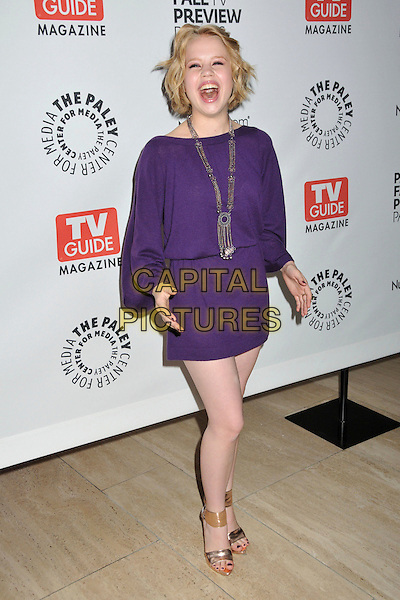 "SOFIA VASSILIEVA.PaleyFest: Fall TV Preview Party for ""Medium"" held at the Paley Center, Beverly Hills, California, USA, .11th September 2009..full length dress mini sleeves brown ankle strap sandals gold open toe  necklace purple chains mouth open funny laughing hands  .CAP/ADM/BP.©Byron Purvis/Admedia/Capital Pictures"