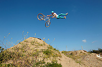 Clinton Johns riding DMR jump bike . The Track, Portreath , Cornwall . July 2013 . <br />