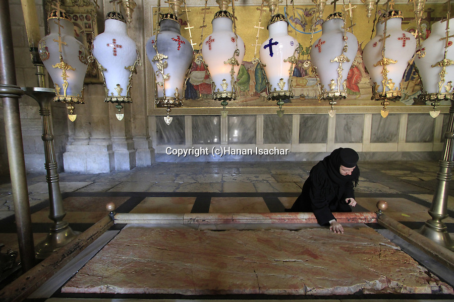 Israel, Jerusalem Old City, the Stone of Anointing at the Church of the Holy Sepulchre