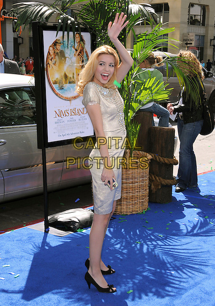 MASIELA LUSHA .Attends Fox Walden's World Premiere of Nim's Island held at The Grauman's Chinese Theatre in Hollywood, California, USA, March 30th 2008                                                                     full length hand waving arm in air gold silver dress mouth open.CAP/DVS.©Debbie VanStory/Capital Pictures
