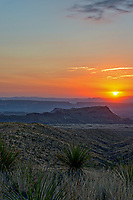 Another capture of the orange glow of the sunset in a vertical format landscape over the Santa Elena Canyon from the Sotal Vista Overlook