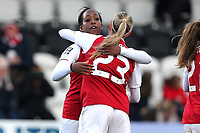 Danielle Carter of Arsenal scores the first goal for her team and celebrates during Arsenal Women vs Yeovil Town Ladies, FA Women's Super League FA WSL1 Football at Meadow Park on 11th February 2018