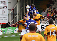 Shane Duffy heads the opening goal in the Motherwell v Everton friendly match at Fir Park, Motherwell on 21.7.12 for Steven Hammell's Testimonial.