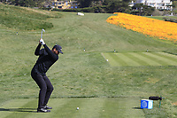 Jason Day (AUS) tees off the 8th tee during Sunday's Final Round of the 2018 AT&amp;T Pebble Beach Pro-Am, held on Pebble Beach Golf Course, Monterey,  California, USA. 11th February 2018.<br /> Picture: Eoin Clarke | Golffile<br /> <br /> <br /> All photos usage must carry mandatory copyright credit (&copy; Golffile | Eoin Clarke)