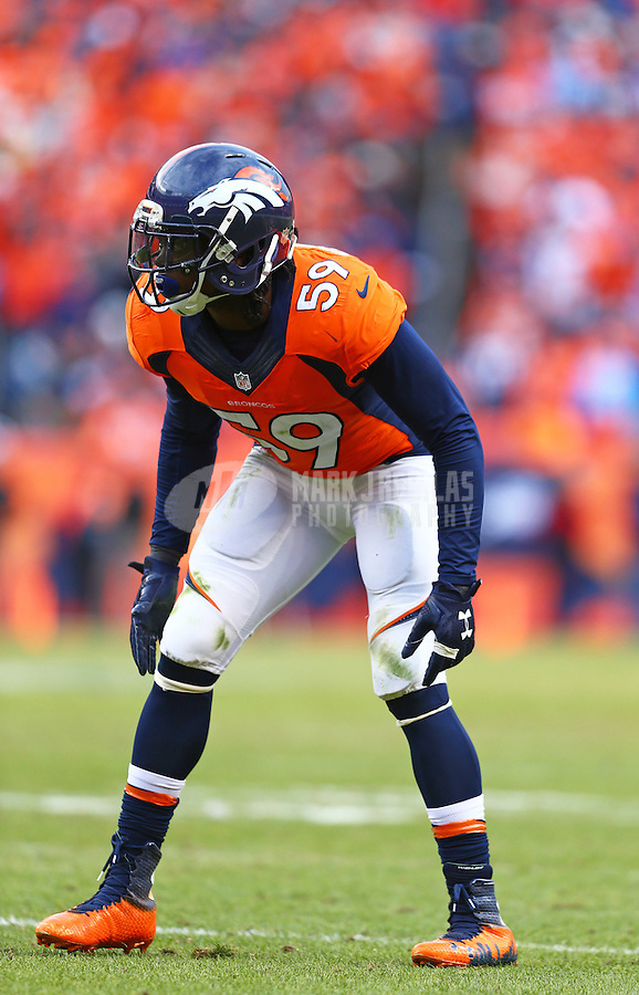 Jan 24, 2016; Denver, CO, USA; Denver Broncos linebacker Danny Trevathan (59) against the New England Patriots in the AFC Championship football game at Sports Authority Field at Mile High. The Broncos defeated the Patriots 20-18 to advance to the Super Bowl. Mandatory Credit: Mark J. Rebilas-USA TODAY Sports
