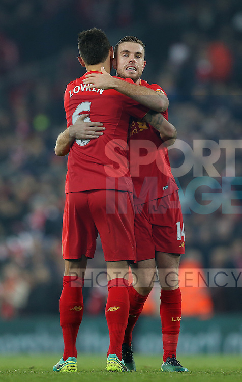 Jordan Henderson of Liverpool celebrates the win with Dejan Lovren of Liverpool during the Premier League match at the Anfield Stadium, Liverpool. Picture date: November 26th, 2016. Pic Simon Bellis/Sportimage