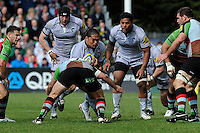 Alesana Tuilagi of Leicester Tigers is tackled as his brother Manusamoa Tuilagi (right) supports during the Aviva Premiership match between Harlequins and Leicester Tigers at The Twickenham Stoop on Saturday 21st April 2012 (Photo by Rob Munro)
