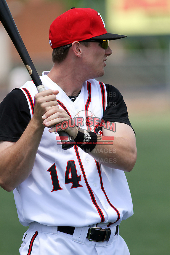 Richmond Flying Squirrels outfielder Gary Brown #14 swinging a bat in the outfield before a game against the Trenton Thunder at The Diamond on May 27, 2012 in Richmond, Virginia. Richmond defeated Trenton by the score of 5-2. (Robert Gurganus/Four Seam Images)