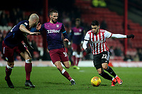 Said Benrahma of Brentford takes on the Aston Villa defence during Brentford vs Aston Villa, Sky Bet EFL Championship Football at Griffin Park on 13th February 2019