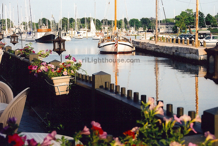 Sailboats are Docked Near Wickford's Beach Rose Cafe