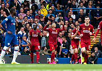 Roberto Firmino of Liverpool celebrates his goal during the Premier League match between Chelsea and Liverpool at Stamford Bridge, London, England on 22 September 2019. Photo by Liam McAvoy / PRiME Media Images.