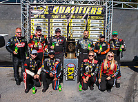 Sep 16, 2018; Mohnton, PA, USA; NHRA Countdown to the championship top fuel drivers (front row from left) Steve Torrence , Antron Brown , Leah Pritchett , Brittany Force (back row from left) Terry McMillen , Doug Kalitta , Scott Palmer , Tony Schumacher , Mike Salinas and Clay Millican pose for a photo during the Dodge Nationals at Maple Grove Raceway. Mandatory Credit: Mark J. Rebilas-USA TODAY Sports