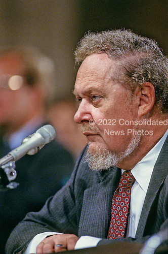 Judge Robert H. Bork, United States President Ronald Reagan's nominee for Associate Justice of the U.S. Supreme Court, testifies before the U.S. Senate Judiciary Committee during his confirmation hearing on September 17, 1987.  Bork passed away on December 19, 2012..Credit: Howard L. Sachs / CNP