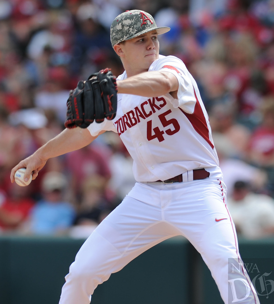 NWA Democrat-Gazette/ANDY SHUPE<br />Arkansas reliever Kevin Kopps delivers to the plate against Georgia Saturday, April 15, 2017, during the fifth inning at Baum Stadium in Fayetteville. Visit nwadg.com/photos to see more photographs from the game.