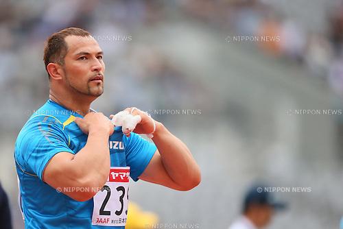 Koji Murofushi (JPN), <br /> JUNE 9, 2013 - Athletics : <br /> The 97th Japan Track &amp; Field National Championships <br /> Men's Hammer Throw Final <br /> at Ajinomoto Stadium, Tokyo, Japan. <br /> (Photo by YUTAKA/AFLO SPORT)