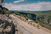 the first breakaway group (of 32 riders) crossing the impressive the Ard&ecirc;che region with it's deep canyons<br /> <br /> Stage 14: Saint-Paul-Trois-Ch&acirc;teaux &gt; Mende (187km)<br /> <br /> 105th Tour de France 2018<br /> &copy;kramon