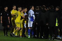 Tempers flare between the two sides after Fleetwood Town manager Joey Barton is sent to the stands<br /> <br /> Photographer Kevin Barnes/CameraSport<br /> <br /> The EFL Sky Bet League One - Bristol Rovers v Fleetwood Town - Saturday 22nd December 2018 - Memorial Stadium - Bristol<br /> <br /> World Copyright &copy; 2018 CameraSport. All rights reserved. 43 Linden Ave. Countesthorpe. Leicester. England. LE8 5PG - Tel: +44 (0) 116 277 4147 - admin@camerasport.com - www.camerasport.com