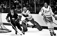 Seals vs. Buffalo Sabres. Jacques Richard, scates past <br />