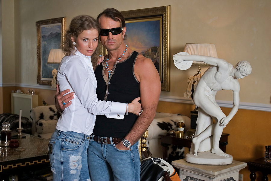 Moscow, Russia, 05/03/2006.&amp;#xA;Italian entrepeneur David Gisi with his girlfiend Elena in his luxury Moscow apartment.<br />