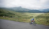 Anthony Turgis (FRA/Total - Direct Energie) descending the Horquette d'Ancizan<br /> <br /> Stage 12: Toulouse to Bagnères-de-Bigorre(209km)<br /> 106th Tour de France 2019 (2.UWT)<br /> <br /> ©kramon